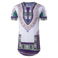 image of CREW NECK COLORFUL TRIBAL PRINT LONGLINE T-SHIRT (COLORMIX) M