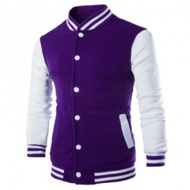 image of STAND COLLAR STRIPED COLOR BLOCK BASEBALL JACKET (PURPLE) L