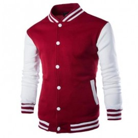 image of STAND COLLAR STRIPED COLOR BLOCK BASEBALL JACKET (WINE RED) 2XL