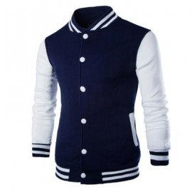 image of STAND COLLAR STRIPED COLOR BLOCK BASEBALL JACKET (CADETBLUE) 2XL
