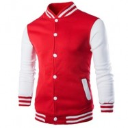 image of STAND COLLAR STRIPED COLOR BLOCK BASEBALL JACKET (RED) 2XL