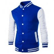 image of STAND COLLAR STRIPED COLOR BLOCK BASEBALL JACKET (BLUE) 2XL