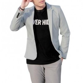 image of CASUAL TAILORED COLLAR SINGLE BUTTON SOLID COLOR BLAZER FOR MEN (GRAY) 3XL