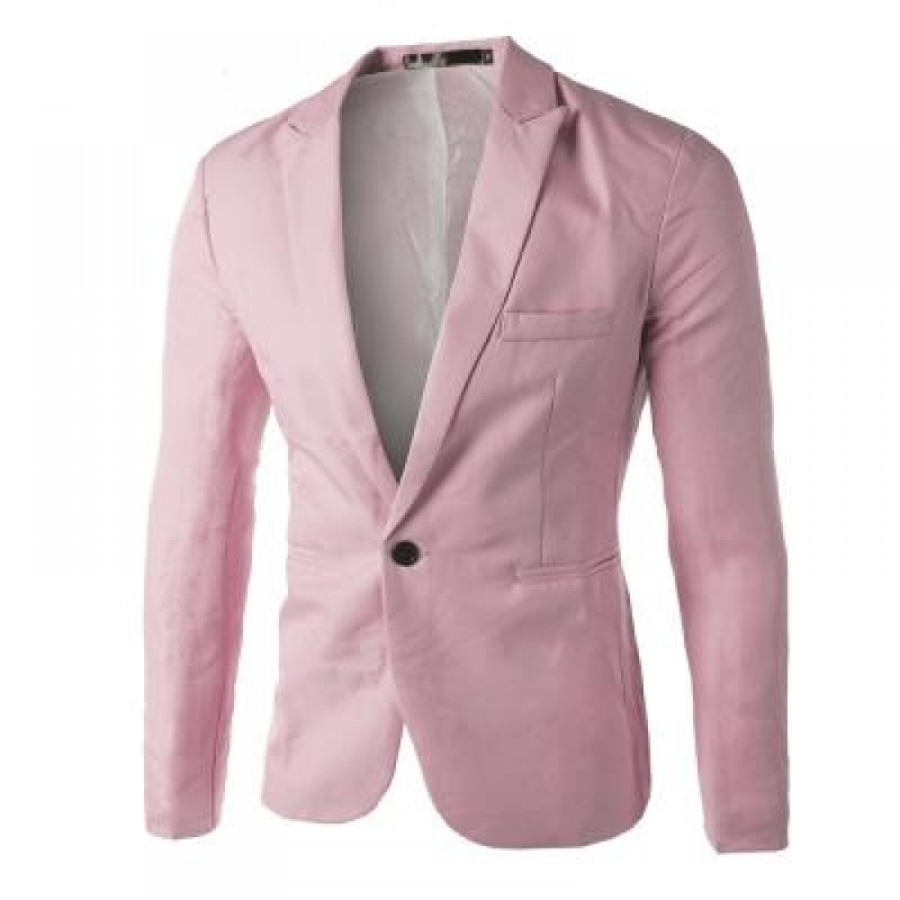 CASUAL TAILORED COLLAR SINGLE BUTTON SOLID COLOR BLAZER FOR MEN (PINK) 2XL