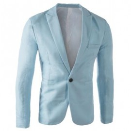 image of CASUAL TAILORED COLLAR SINGLE BUTTON SOLID COLOR BLAZER FOR MEN (LIGHT BLUE) 2XL
