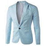 CASUAL TAILORED COLLAR SINGLE BUTTON SOLID COLOR BLAZER FOR MEN (LIGHT BLUE) 2XL