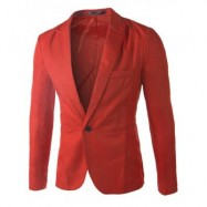 image of CASUAL TAILORED COLLAR SINGLE BUTTON SOLID COLOR BLAZER FOR MEN (RED) XL