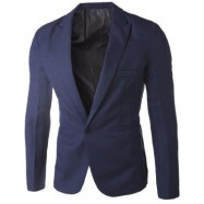image of CASUAL TAILORED COLLAR SINGLE BUTTON SOLID COLOR BLAZER FOR MEN (CADETBLUE) 2XL