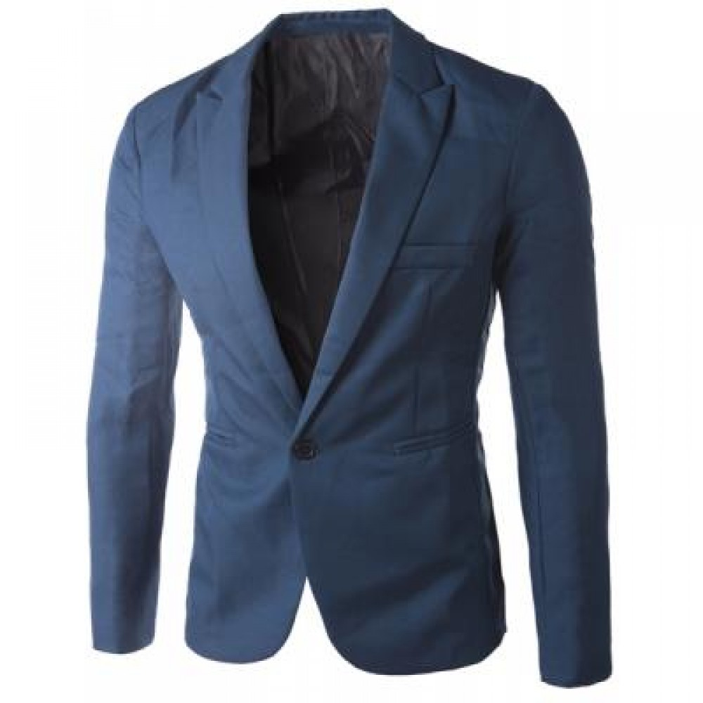 CASUAL TAILORED COLLAR SINGLE BUTTON SOLID COLOR BLAZER FOR MEN (SAPPHIRE BLUE) 2XL