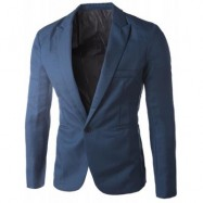 image of CASUAL TAILORED COLLAR SINGLE BUTTON SOLID COLOR BLAZER FOR MEN (SAPPHIRE BLUE) 2XL