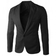 image of CASUAL TAILORED COLLAR SINGLE BUTTON SOLID COLOR BLAZER FOR MEN (BLACK) 2XL
