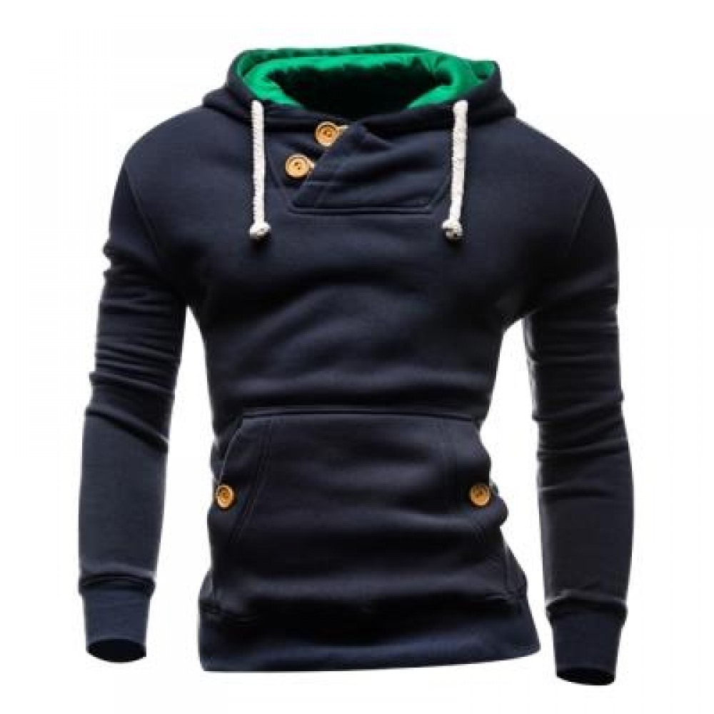 HOODED BUTTONS POCKET FLEECE PULLOVER HOODIE (CADETBLUE) L