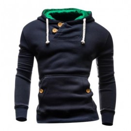 image of HOODED BUTTONS POCKET FLEECE PULLOVER HOODIE (CADETBLUE) L