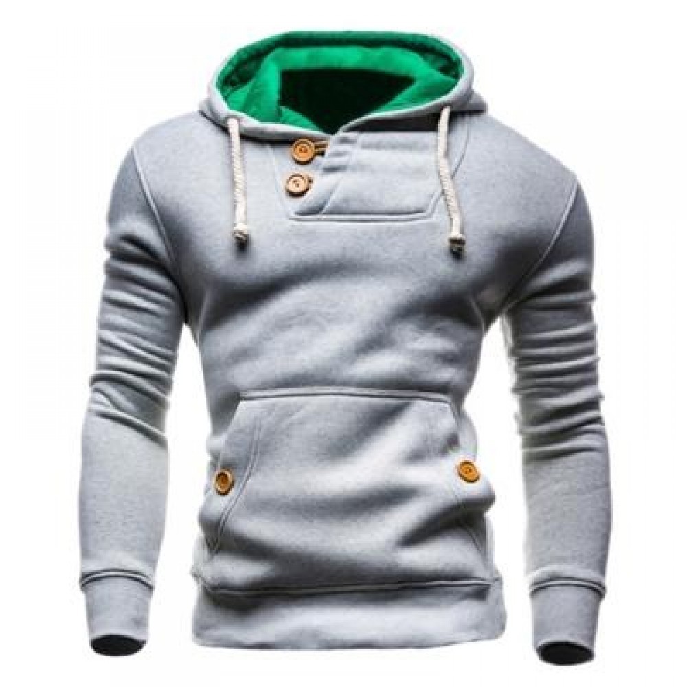 HOODED BUTTONS POCKET FLEECE PULLOVER HOODIE (LIGHT GRAY) L