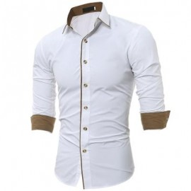 image of TURNDOWN COLLAR COLOR BLOCK EDGING SHIRT (WHITE) M