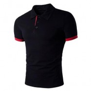 image of TURNDOWN COLLAR PANEL DESIGN POLO T-SHIRT (BLACK) 2XL