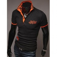 image of FASHION STYLE POLO COLLAR EMBROIDERY LETTERS EMBELLISHED SHORT SLEEVES POLYESTER POLO SHIRT FOR MEN (BLACK) L