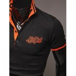 FASHION STYLE POLO COLLAR EMBROIDERY LETTERS EMBELLISHED SHORT SLEEVES POLYESTER POLO SHIRT FOR MEN (BLACK) L