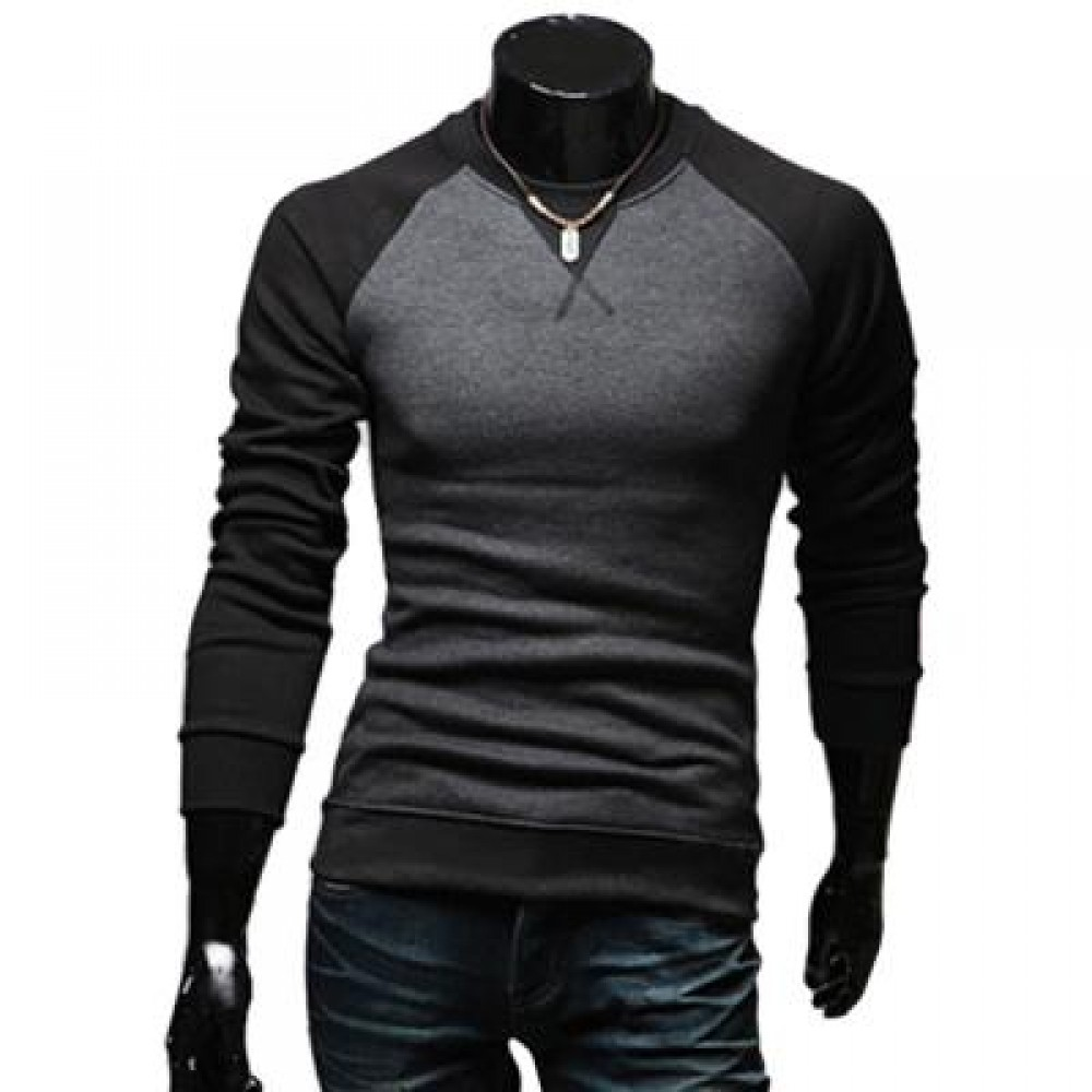 CASUAL PATCHWORK ROUND NECK MALE LONG SLEEVE SHIRT (BLACK M/L/XL/XXL) M