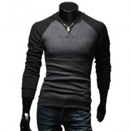 image of CASUAL PATCHWORK ROUND NECK MALE LONG SLEEVE SHIRT (BLACK M/L/XL/XXL) M