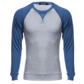 image of CASUAL PATCHWORK ROUND NECK MALE LONG SLEEVE SHIRT (PURPLISH BLUE M/L/XL/XXL) M