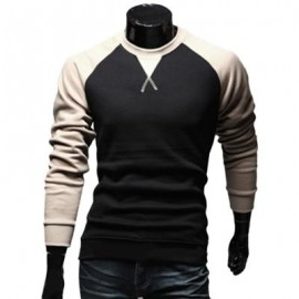 image of CASUAL PATCHWORK ROUND NECK MALE LONG SLEEVE SHIRT (KHAKI M/L/XL/XXL) M