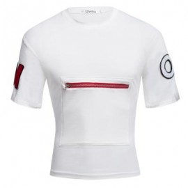 image of MALE LETTER PRINT EMBROIDERY ZIPPER DESIGN ROUND NECK SHORT SLEEVE SHIRT (WHITE M/L/XL/XXL) M