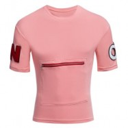 image of MALE LETTER PRINT EMBROIDERY ZIPPER DESIGN ROUND NECK SHORT SLEEVE SHIRT (PINK M/L/XL/XXL) M