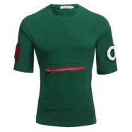 image of MALE LETTER PRINT EMBROIDERY ZIPPER DESIGN ROUND NECK SHORT SLEEVE SHIRT (GREEN M/L/XL/XXL) M
