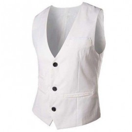 image of RETRO PURE COLOR V NECK POCKET DECORATION SUIT VEST FOR MALE (WHITE) L