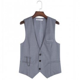 image of RETRO PURE COLOR V NECK POCKET DECORATION SUIT VEST FOR MALE (GRAY) M