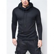 image of DRAWSTRING COWL NECK PULLOVER HOODIE (BLACK) M