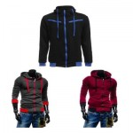 CASUAL FLEECE COLOR BLOCK ZIPPER DECORATION MALE HOODIES (CLARET) 3XL