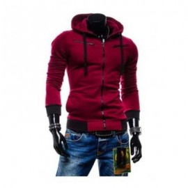 image of CASUAL FLEECE COLOR BLOCK ZIPPER DECORATION MALE HOODIES (CLARET) 3XL
