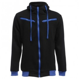 image of CASUAL FLEECE COLOR BLOCK ZIPPER DECORATION MALE HOODIES (BLACK) L