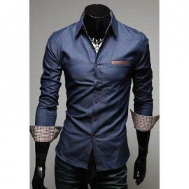 image of CASUAL STYLE LAPEL COLLAR POCKETS DESIGN BLEACH WASH LONG SLEEVES DENIM SHIRT FOR MEN (DEEP BLUE) L