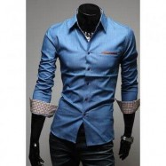 image of CASUAL STYLE LAPEL COLLAR POCKETS DESIGN BLEACH WASH LONG SLEEVES DENIM SHIRT FOR MEN (LIGHT BLUE) 2XL