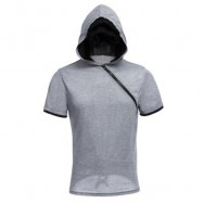 image of MALE SOLID COLOR INCLINED ZIPPER DESIGN HOODED SHIRTS (GRAY) 2XL
