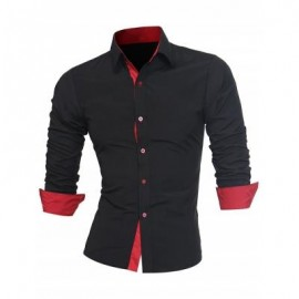 image of TURNDOWN COLLAR PANEL DESIGN FORMAL SHIRT (BLACK AND RED) 2XL