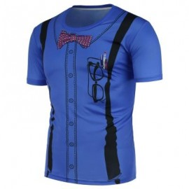 image of 3D SUSPENDERS PATTERN T-SHIRT (BLUE) 3XL