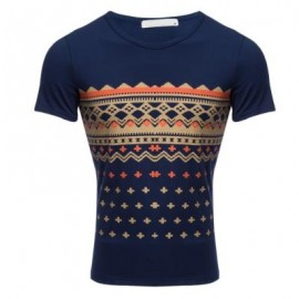 image of CASUAL PATTERN PRINT ROUND NECK MALE SHORT SLEEVE SHIRT (PURPLISH BLUE) XL
