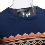 CASUAL PATTERN PRINT ROUND NECK MALE SHORT SLEEVE SHIRT (PURPLISH BLUE) XL