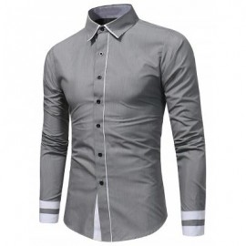 image of COLOR BLOCK PANEL SLIM FIT SHIRT (GRAY) 2XL