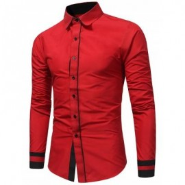 image of COLOR BLOCK PANEL SLIM FIT SHIRT (RED) 2XL