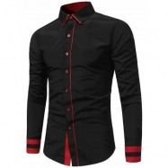 image of COLOR BLOCK PANEL SLIM FIT SHIRT (BLACK) L