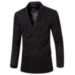 SIMPLE DESIGN SOLID COLOR POCKET DECORATION DOUBLE-BREASTED MALE SUIT JACKET M