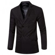 image of SIMPLE DESIGN SOLID COLOR POCKET DECORATION DOUBLE-BREASTED MALE SUIT JACKET M