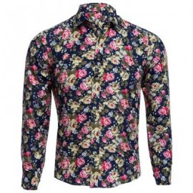image of FLORAL PRINT TURN DOWN COLLAR LONG SLEEVE CASUAL SHIRT FOR MALE (CADETBLUE) 2XL