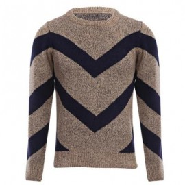 image of STYLISH COLOR BLOCK ROUND NECK MALE KNITTED PULLOVER SWEATER M