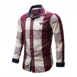image of TURN-DOWN COLLAR PLAID PATTERN LONG SLEEVE SHIRT FOR MEN L